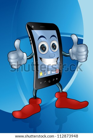 illustration of a smart mobile phone posing on blue background - stock vector