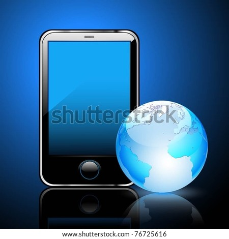 Illustration of a smart phone and globe of the Earth, a dark blue background. Vector.