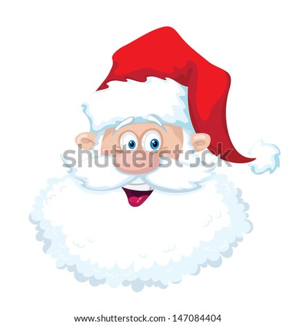 illustration of a smile santa head - stock vector