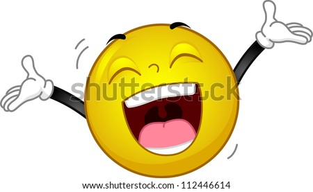 Illustration of a Smiley Laughing Out Loud - stock vector