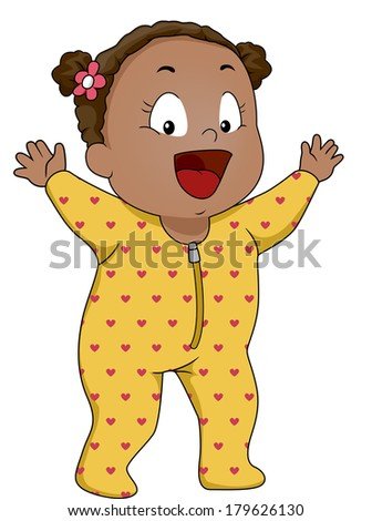 Illustration of a Smiling Baby Girl Wearing Footie Pajamas - stock vector
