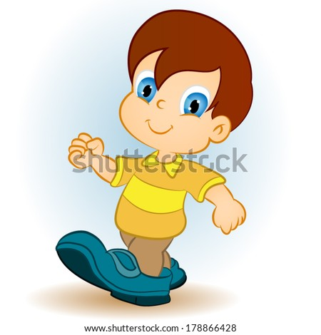Illustration of a smiling boy on a white background  - stock vector