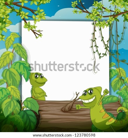 Illustration of a smiling chameleons and a white board in a beautiful nature