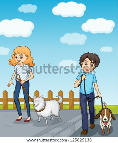 Illustration of a smiling girl and a boy having dog - stock vector