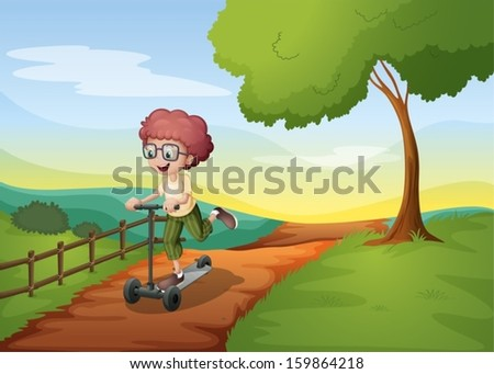 Illustration of a smiling young boy riding with his scooter - stock vector