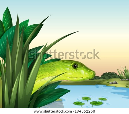 Illustration of a snake at the pond - stock vector
