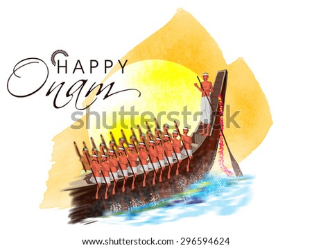 Illustration of a snake boat with participant oarsmen trying to win the competition on occasion of South Indian festival, Happy Onam celebration. - stock vector
