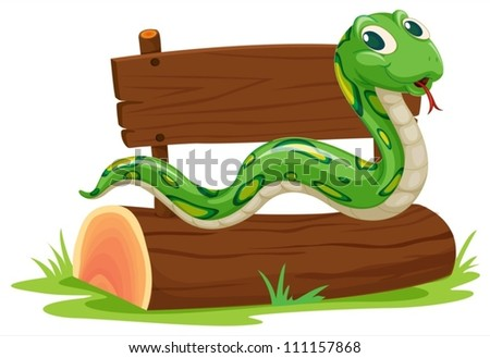 Illustration of a snake on a log - stock vector