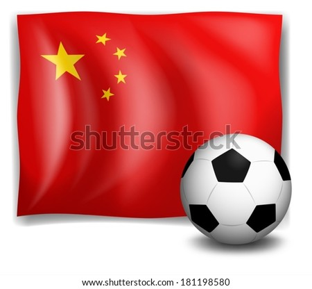 Illustration of a soccer ball in front of the Chinese flag on a white background - stock vector