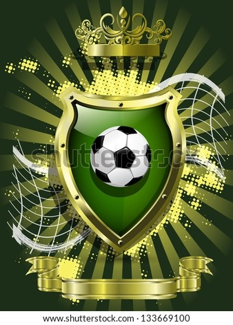 illustration of a soccer ball on background of the shield - stock vector