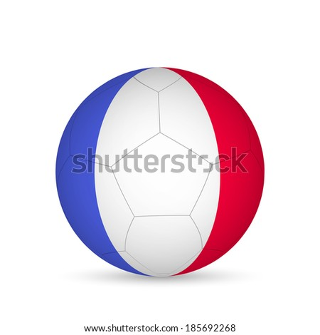 Illustration of a soccer ball with France flag isolated on a white background. - stock vector