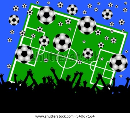 illustration of a soccer field and fans on blue background