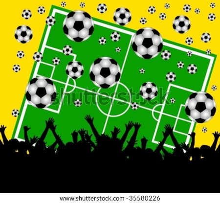 illustration of a soccer field and fans on yellow background