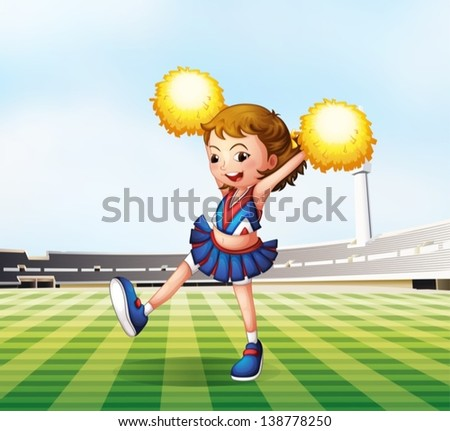 Illustration of a soccer field with a cheerdancer - stock vector