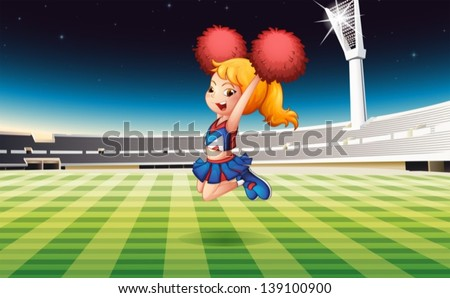 Illustration of a soccer field with an energetic cheerdancer - stock vector