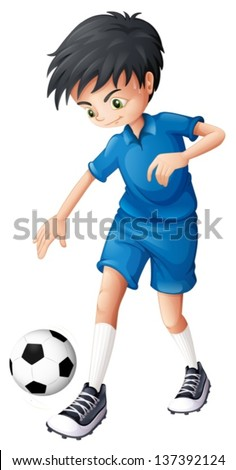 Illustration of a soccer player in his complete blue uniform on a white background