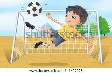 Illustration of a soccer player kicking a soccer ball - stock vector
