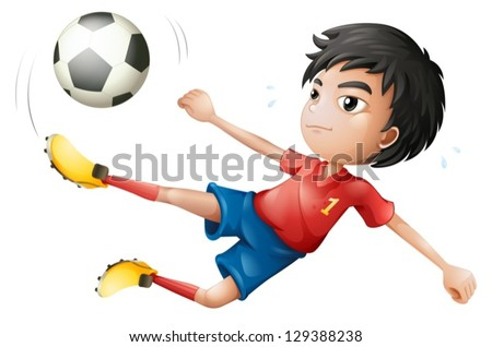 Illustration of a soccer player on a white background - stock vector