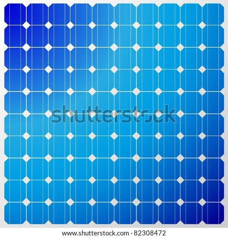 Illustration of a solar panel with a reflection of the sky. Vector. - stock vector