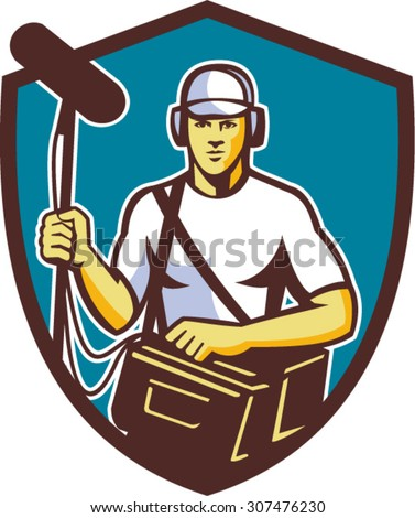Illustration of a sound-man film crew worker with headphone carrying bag holding a telescopic microphone facing front set inside shield crest on isolated background done in retro style. - stock vector