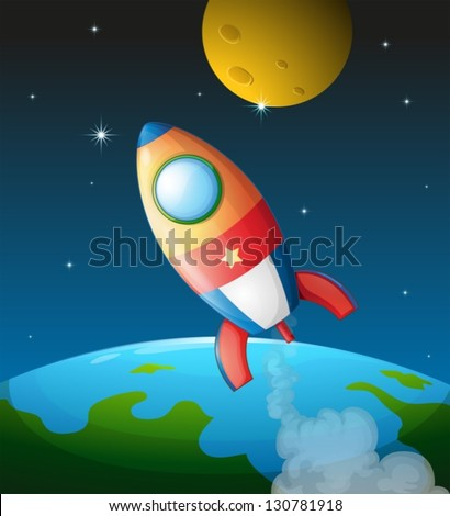 Illustration of a spacecraft near the moon - stock vector
