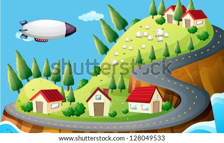 Illustration of a spaceship and a village