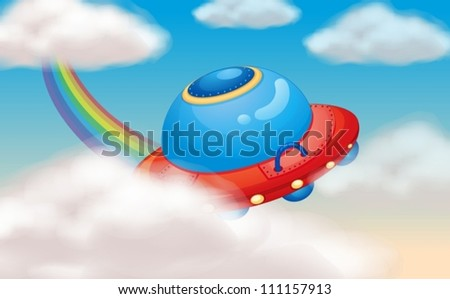 illustration of a spaceship and rainbow in sky