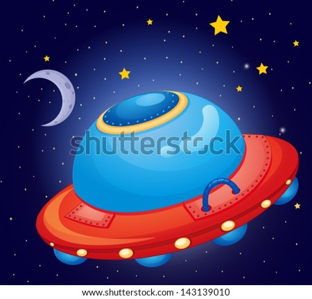 Illustration of a spaceship at the space - stock vector