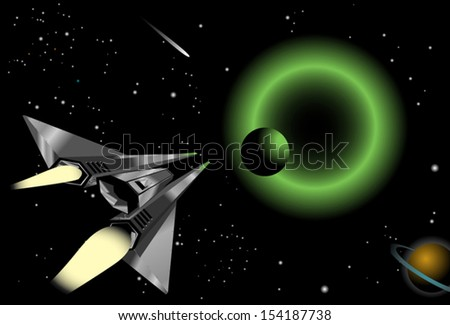 Illustration of a spaceship flying into a group of planets in space.