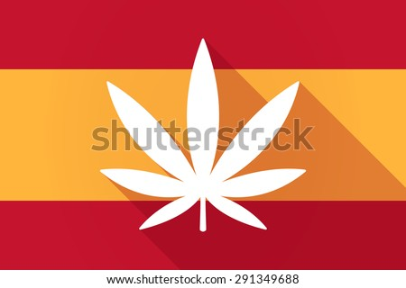 Illustration of a Spain  long shadow flag with a marijuana leaf - stock vector
