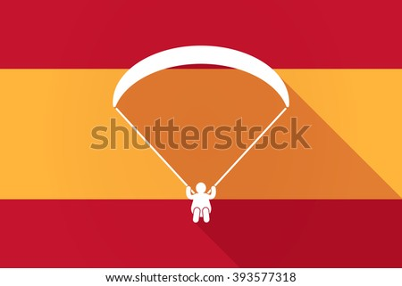 Illustration of a Spain  long shadow flag with a paraglider - stock vector