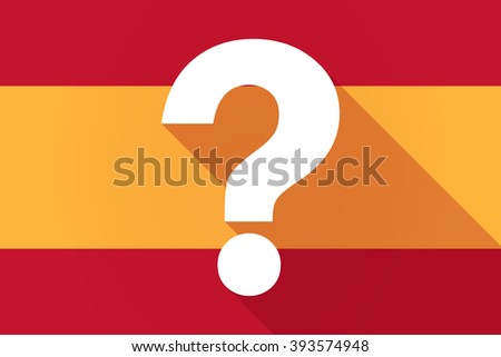 Illustration of a Spain  long shadow flag with a question sign