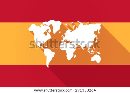Illustration of a Spain long shadow flag with a world map - stock vector