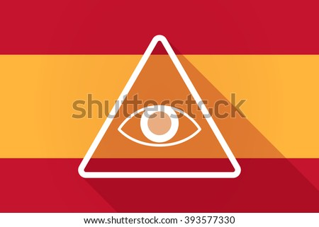 Illustration of a Spain  long shadow flag with an all seeing eye