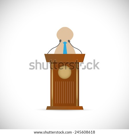 Illustration of a speaker and wooden podium isolated on a white background. - stock vector