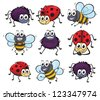 Illustration of a spider, a ladybug and a bee on a white background - stock vector