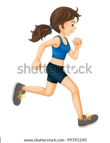 Illustration of a sports girl on white - stock vector