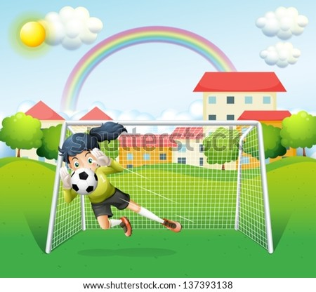 Illustration of a sporty woman playing soccer - stock vector