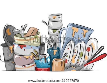 Illustration of a Stack of Dirty Dishes Waiting to be Washed - stock vector