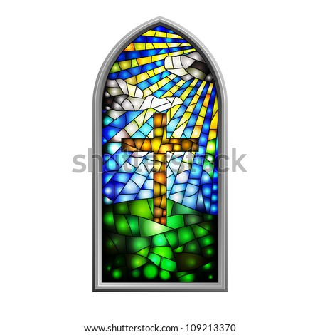 Illustration of a stained glass window in eps10 - stock vector