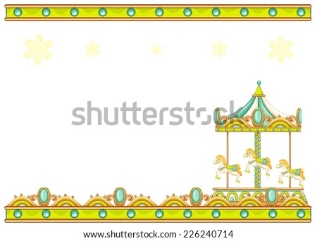 Illustration of a stationery template with a merry-go-round ride on a white background  - stock vector
