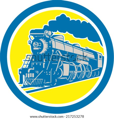 Illustration of a steam train locomotive traveling set inside circle on isolated background done in retro style.  - stock vector