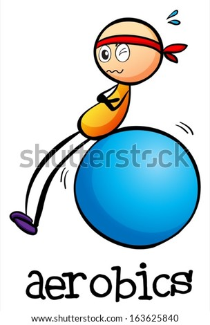 Illustration of a stick man doing an aerobics on a white background - stock vector
