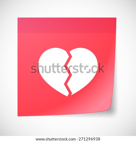 Illustration of a sticky note icon with a broken heart - stock vector