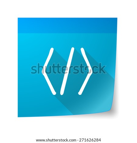 Illustration of a sticky note icon with a code sign - stock vector