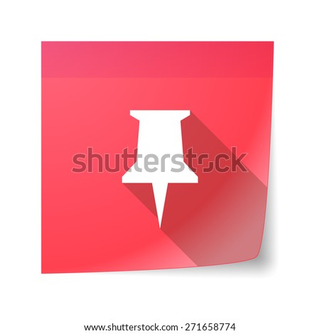 Illustration of a sticky note icon with a push pin - stock vector