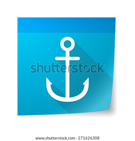 Illustration of a sticky note icon with an anchor - stock vector