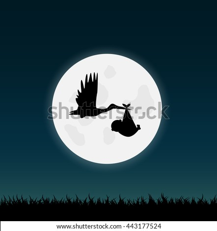 Illustration of a stork carrying a baby against a night sky background. - stock vector