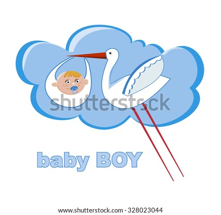 Illustration of a stork carrying a baby boy - stock vector