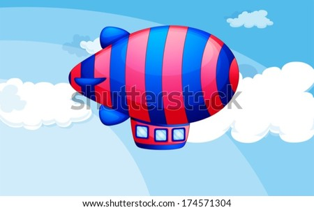 Illustration of a stripe-colored airship in the sky - stock vector